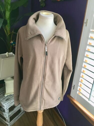 Calvin Klein Women's Size XL Beige Zip Up Fleece Jacket W/ Pockets