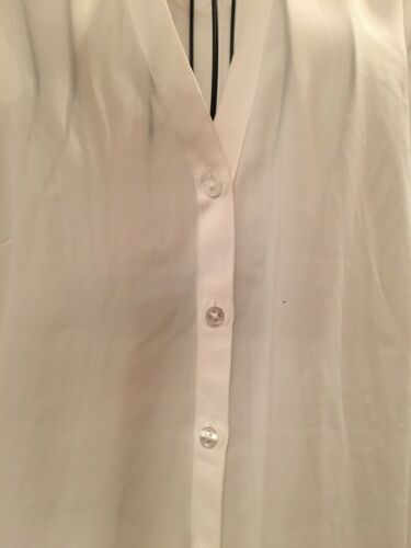 Express Portofino Blouse White Long Sleeve Button Down W Collar Women's Size Med