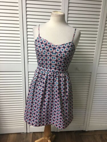 J. Crew Women's Size 4 Pink And Blue Sun Dress Flowy Bottom Spaghetti Straps