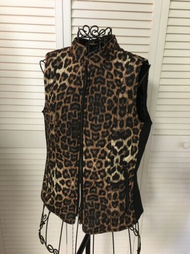 New Direction Petite Women's Size PM Leopard Print Zip Up Vest