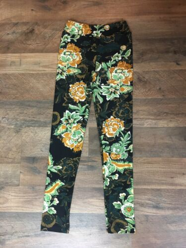 LuLaRoe Girls Leggings Size L/XL Very Soft Feel Green And Gold Floral Pattern