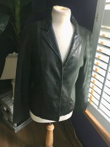 Jones New York Women's Size Medium Black Leather Style Jacket W/ Buttons Pockets