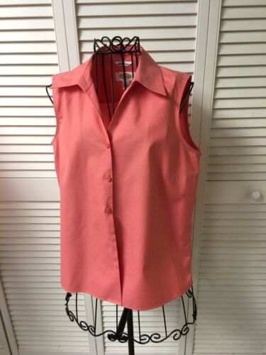 Talbots Women's Size 4 Coral Colored Sleeveless Button-down Blouse W/ Collar