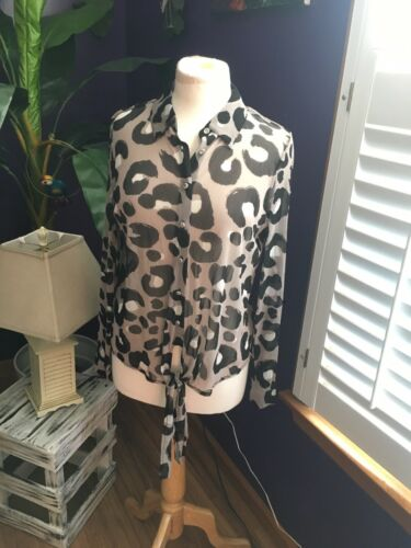 NEW International Concepts Women's Sz M Sheer Long Sleeve Button Down Blouse NWT