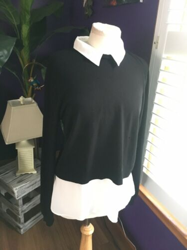 Marled Women's Size Large Black And White Long Sleeve Blouse Sweater W/ Collar