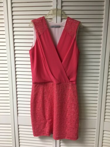 Marc New York Women's Size 6 Pink Sleeveless Dress V-Neck W/ Lace Skirt Bottom