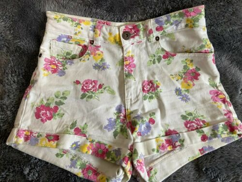 Women's Bull Head Denim Co Shorts Ivory Floral Design Sz 1