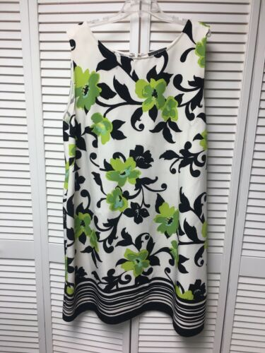 Jessica Howard Women's Size 24W Sleeveless Dress White W/ Black & Green Flowers