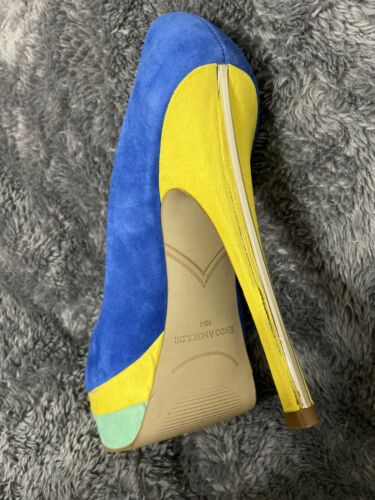 enzo angiolini womens Yellow Green Blue Suede Platform Pumps Sz 10