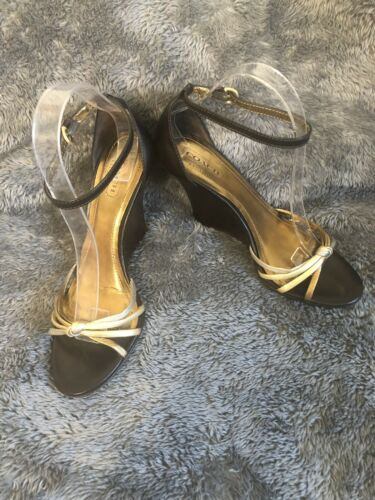 Womens Coach Wedge Heel Ankle Strap Metallic, Copper, Silver Shoes Sz 8B