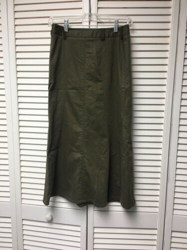 Talbots Petites Women's Size 2 Stretch Green Skirt Floor Length