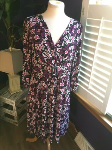 Style & Co Women's Size Large Purple Patterned Long Sleeve Dress V-Neck