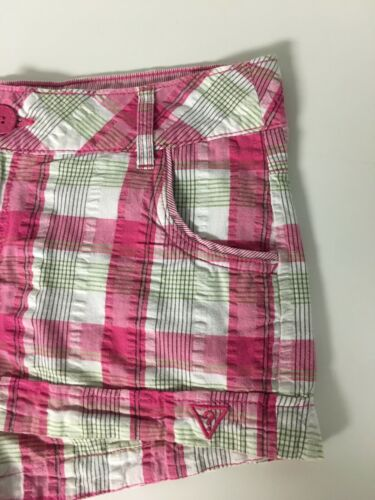 "Guess Women's Size 29 Plaid Shorts 33"" Waist Pink/Green"
