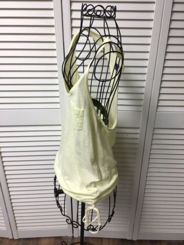 American Eagle Women's Size Small Yellow Razor Back Tank Top With Lace Back