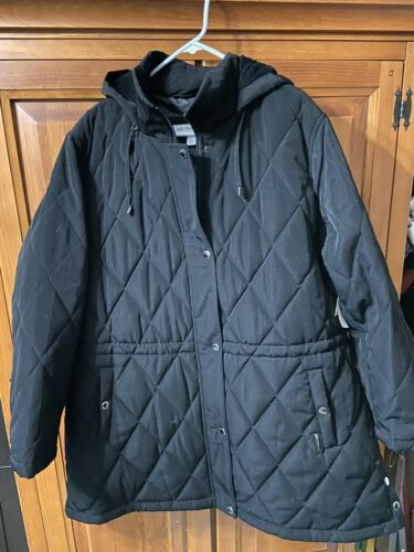 Nwt Liz Claiborne Womens Water Resistent Detachable Hood Quilted Jacket Sz 2x