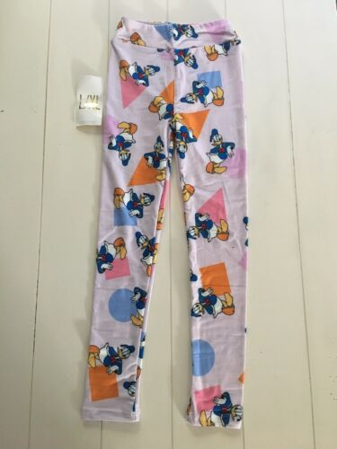 "LuLaRoe Girls Kids Leggings Soft Stretchy Disney Donald Duck Sz L/XL 17"" Waist"