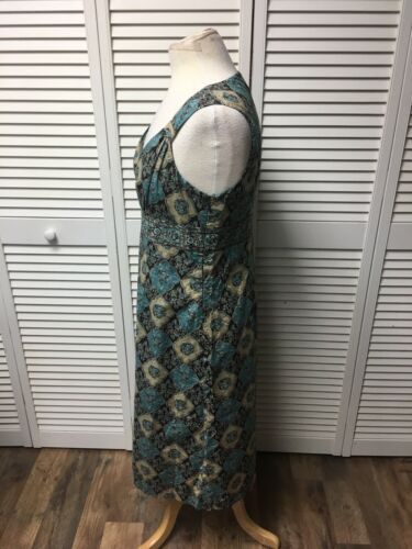 Ann Taylor Loft Women's Size 10 Blue/Brown Sleeveless Dress W/ V-Neck