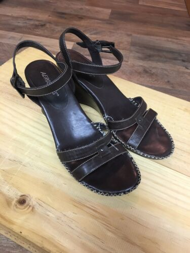Aerosoles Women's Size US 8 Brown Wedges Open Toe Strap Buckle Around Ankle