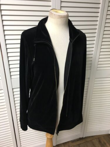 Talbots Petites Women's Size 1Xp Black Zip Up Jacket Soft Velvet-Like Feel