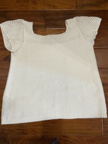 Loft Short Sleeve White Sweater M