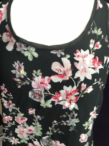 Express Women's Sz S Black Tank Top W/ Sheer Front Cover Floral Pattern