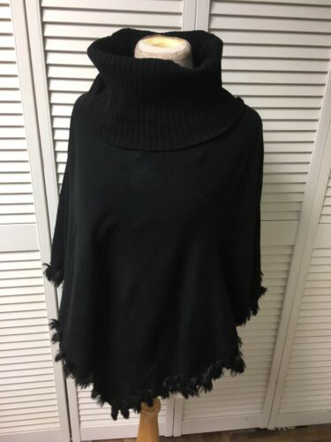 Alfani Women's Size S/M Black Poncho With Turtle Neck And Fringe Around Bottom
