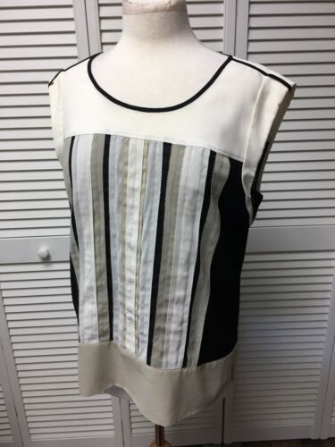 Kenneth Cole New York Women's Size Large Short Sleeve Blouse Beige Stripes