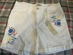 "Vintage America Womens White Floral Embroided Shorts 10 "" Beastie Shorts """