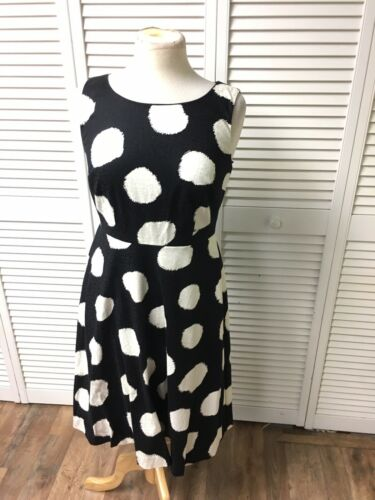 Talbot Women's Size 2 Black Dress White Polka Dots Sleeveless Flowy Bottom NWT