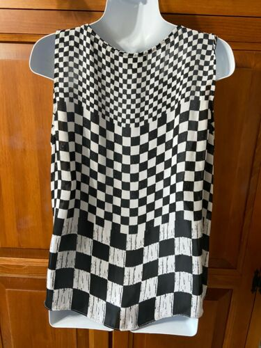 Women's Worthington Top Sleeveless Black/Grey Checker Print Sz XL