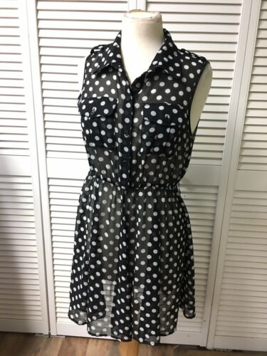 Forever 21 Women's Sz M Sheer Dress Black W/ White Polka Dots Button Top Flowy