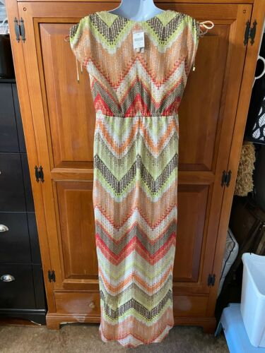 Women's Chico's Maxi Dress Textured Chevron Multi Color Sz O New With Tag