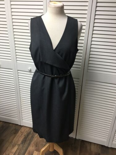 Calvin Klein Women's Size 12 Grey Sleeveless Dress With Belt Zipper In Back