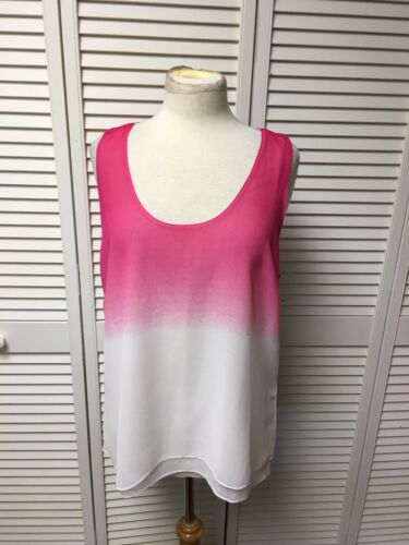 Calvin Klein Women's Size XL Sleeveless Blouse Pink And White Hombre Design