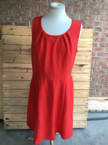 AGB Women's Size 14 Orange Sleeveless Dress Pleated Around Waist Zipper In Back