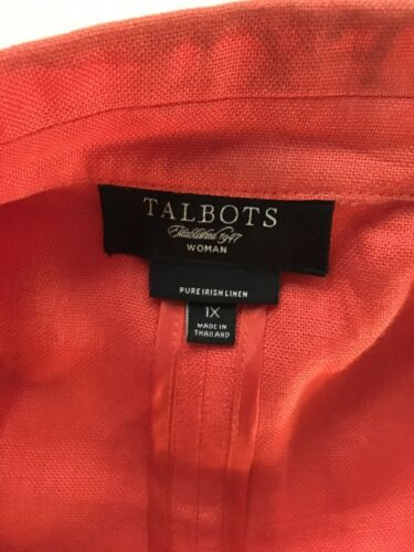 Talbots Women's Size 1X Orange Jacket Open Front W/ Pockets