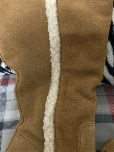 Womens Denim Supply Ralph Lauren Tan Suede Boots With Fur Inside And Trim Sz 7
