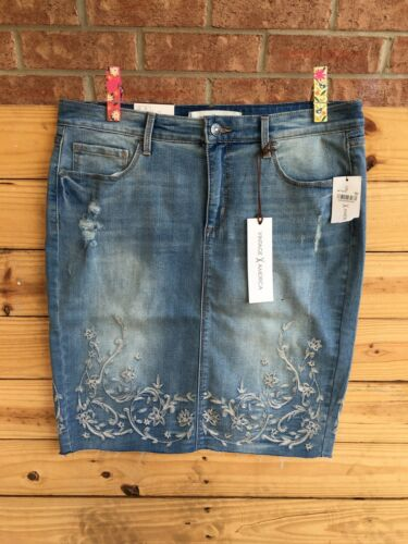 Vintage America Women's Size 10/30 Denim Blue Jean Skirt W/ Embroidery NWT