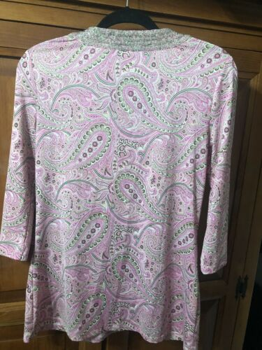 INC Silver Beaded Neck Pink Pasley Print Long Sleeve Tunic Top Sz m