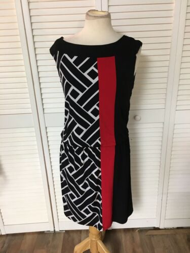 Black House White Market Women's Sz S Dress Cap Sleeve Black Pattern W/ Red