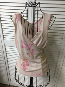 Sweat Pea Women's Size Large Tank Top W/ Butterflies V-Neck NWT