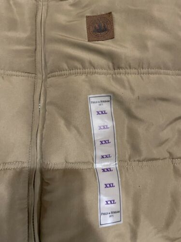 Mens Field & Stream Explorer Quilted Zip Vest Tan Sz XXL Faux Sherpa Neck Lining