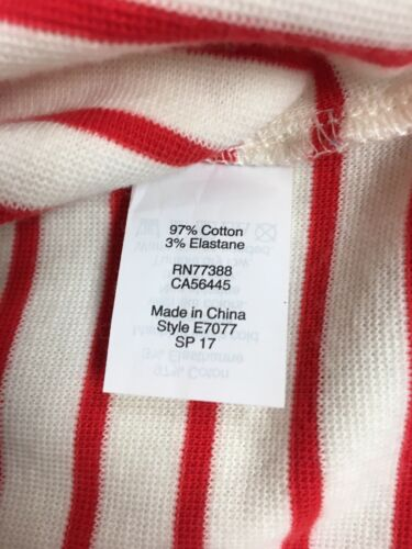 J. Crew Women's Size XXS Red And White Striped Long Sleeve Dress
