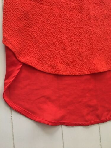 Deletta Women's Size XS Orange Tank Top Shorter In Front W/ Long Sheer Back