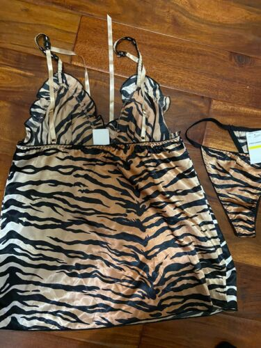Women's Cinema Etoile 3 Piece Garment Set Tiger Print Sz M Cami Jacket Panty