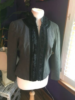 Coldwater Creek Women's Size P10 Grey Long Sleeve Blazer W/ Black Ruffles