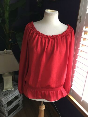 Michael Kors Women's Size Large Red Long Sleeve Blouse Elastic Neckline