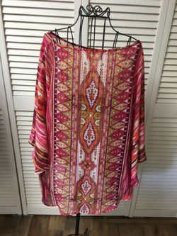 Women's Sheer Poncho Shaw Multicolor One Size Fits All Flowy Blouse