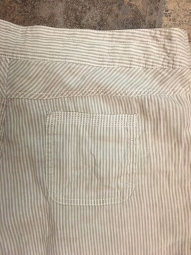 International Concepts Women's Sz 12 White Shorts W/ Beige Pinstripes Drawstring