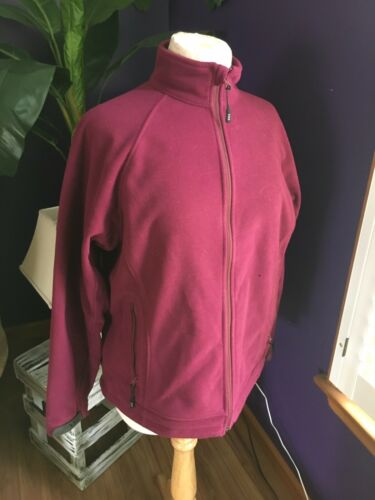 Lands End Women's Size Medium 10/12 Burgundy Fleece Zip Up Jacket W/ Pockets